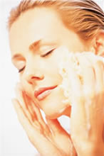 woman washing with non toxic skin care